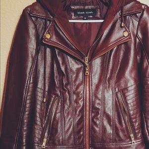 Maroon Black Rivet Faux Leather Jacket